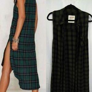 Sleeveless flannel dress/cardigan